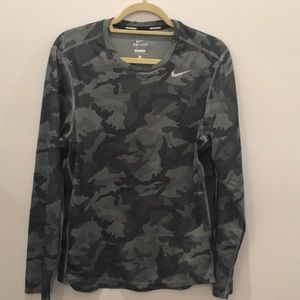 Nike Running Camouflage Long Sleeve Shirt Small S